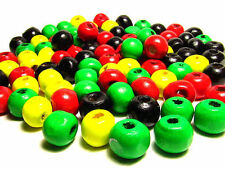 100 Loose Round 8mm Wood Rasta Beads Black Yellow Red Green, Mixed Beads