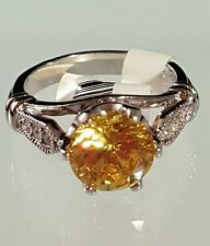 Silver Tone Cubic Zirconia Birthstone Ring Cocktail Citrine Yellow Size 4