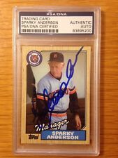 Sparky Anderson Autographed Signed 1987 Topps #218 Detroit Tigers PSA DNA Mgr