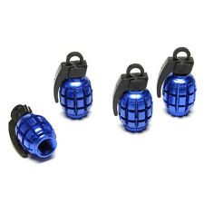 4X Grenade Design Car Truck Bike Wheel Rims Stem Air Valve Caps Tyre Cover Blue
