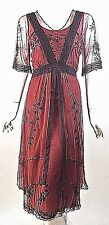 Downton Abbey Dress Red/Burgundy Gatsby Victorian Lace Formal dresses S NWT