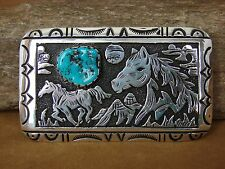 Navajo Indian Sterling Silver Turquoise Horse Belt Buckle by Richard Singer