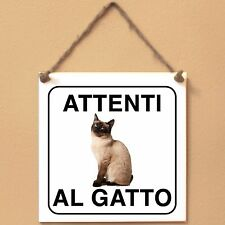 Siamese 2 Attenti al gatto Targa gatto cartello ceramic tiles