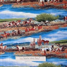 Horse Fabric - Mustang Meadows Country Scene Blue - SSI South Sea Imports YARD