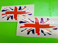 "UNION JACK FLAG SPLAT UK GB Van Car Bumper Helmet Stickers Decals 6"" or 150mm"