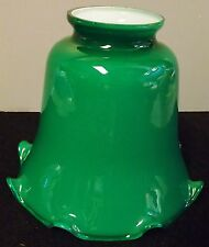 GREEN CASED GLASS LAMP SHADE DESK LAMP GLOBE FIXTURE OR FLOOR LAMP
