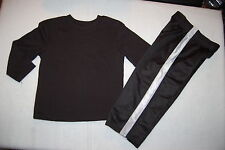 Toddler Boys 2 PC Outfit L/S BLACK T-SHIRT & ATHLETIC SWEAT PANTS Gray Stripe 2T
