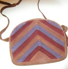 Bruno Magli Vintage Suede Shoulder Bag herringbone brown tan purple NWOT