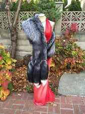 NEW SILVER FOX FUR STOLE WRAP CAPE 98 INCHES LONG New item Made in USA