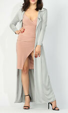 Womens Slinky Long Maxi Duster Coat Blazer Jacket Evening Xmas Party Cover Up