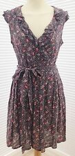"""NEW LOOK"" BLUE FLORAL DRESS WITH TIE BELT, FRILLED NECKLINE, SIZE 8 - USED"