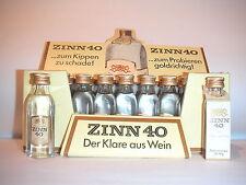 18x Miniaturflaschen Peter Eckes ZINN 40 + original Aufsteller SELTEN 70er Jahre