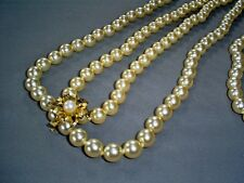 "2X LOVELY FAUX PEARL NECKLACES 16"" & 21"" WITH 925 STERLING SILVER GILT CLASP"