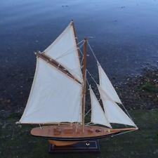 New BRITANNIA WOODEN MODEL YACHT SAILING BOAT ORNAMENT 56cm x 60cm