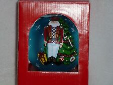"""Nutcracker Toy Soldier 6"""" Blue Glass Christmas Tree Ornament 2007 Hand Crafted"""