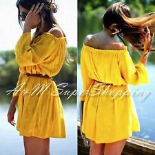 ZARA YELLOW OFF SHOULDER MINI DRESS SIZE M 10 UK 38 EU 6 US