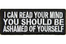 I CAN READ YOUR MIND EMBROIDERED IRON ON BIKER PATCH