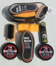 Voyage chaussure soins polonais kit tin brosse duster chiffon-black & brown best price uk