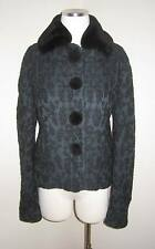 ROCHAS EMBROIDERED WOOL SILK WITH NUTRIA FUR COLLAR + BUTTONS JACKET COAT 42