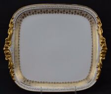 JPL Limoges Double Fancy Thick Gold Rose Swags Wanamaker Square Muffin Dish