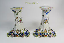 Antique French Faience Rouen Hand-Painted Candlesticks