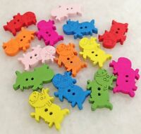 100pcs Mixed Colors Cows Shape Wood Sewing Buttons Scrapbooking Cnk219e-2