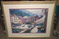 HOWARD BEHRENS CITY BEACH PORT BOAT PAINTING PRINT? SIGNED OIL GLASS FRAMED (J2)