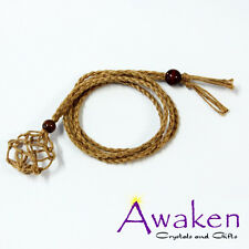 HEMP-ROPE Hand Made LIGHT BROWN Necklace Designed for Wearing Tumbled Gemstones
