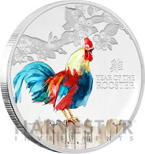 2017 LUNAR YEAR OF THE ROOSTER - 1 OZ. SILVER COIN - WITH ALL OGP AND COA
