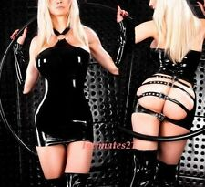 Fetish Black Gothic Wetlook Open Back /w Buckles Intimate Dress w/ Gloves 1 set