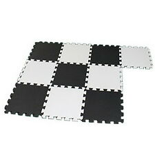 10 PCS Eva Foam Puzzle Exercise Mat Interlocking Floor Tiles White and Black #UI