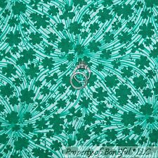 BonEful Fabric FQ Cotton Quilt VTG White Green 4H Club Clover Home School Swirl