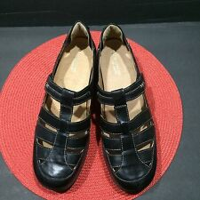 Naturalizer Womens Black Leather T-strap Loafer Malta Flat Shoes 11 WW