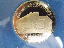 CASION DE DEAUVILLE FRANCE FRANKLIN MINT SILVER 100 FRANCS GAMING TOKEN MINT