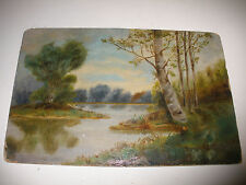 Vintage antique 19/20th oil painting landscape pond mystery artist ...