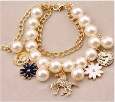 New Charm Nice Resin Crystal Pearl Horse Coins Gold Cuff Bracelet festival Jewel