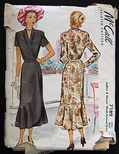 Vintage Original McCall 40's Cocktail Dress Pattern No. 7189