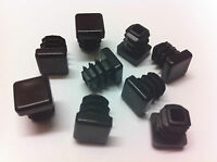 """Qty 12 x 16mm / 5/8"""" Plastic Black Blanking End Caps Square Tube Pipe Inserts"""