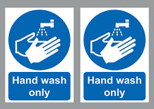 HAND WASH ONLY sign sticker blue & white vinyl small A6 size 105x150mm(set of 2)