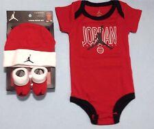 AIR JORDAN Baby 3-piece Gift Set BODYSUIT, Cap, Booties 0-6 Months RED & White