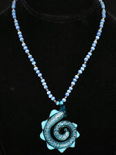 Aqua Blue Glass Curl w/ Silver Speckles & Triangular Points Pendant & Blue Beads