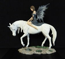 Beautiful ''NEMISIS NOW'' Fairy Riding Unicorn Ornament Figure NEW WITH BOX