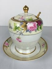 Vintage Noritake Sugar Bowl with Lid Spoon and Saucer Gold trim