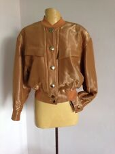 VINTAGE GOLD LAME ESCADA BOMBER JACKET WITH LEOPARD PRINT SILK LINING