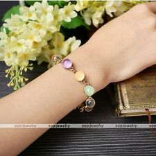 Womens Xmas Gift Crystal Glass Ball Beads Chain Link Bangle Bracelet Candy Color