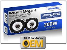 """Renault Megane Rear Door speakers Alpine 5.25"""" car speaker kit 200W Max"""