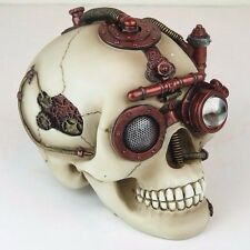 "Steampunk Skull w/ Secret Drawer Trinket Box Bronze Figurine Miniature 6.5""L New"