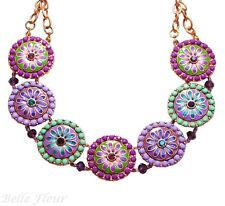 Wonderland Flower Garden Disc Necklace ~Purple, Lavender, & Green~