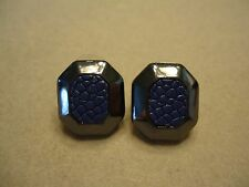 Vintage Black Gunmetal Cobalt Blue Faux Snake Skin Elegant Post Earrings