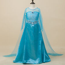 Girls Frozen Princess Elsa Party Long Dress Kids Fancy Costume SZ 7-8 Xmas Gift